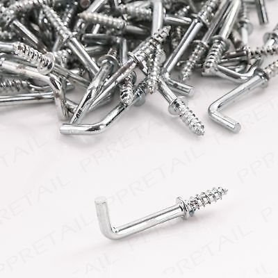 £4.69 • Buy 100x SMALL 19mm SILVER SHOULDERED DRESSER CUP HOOKS Square Screw In L Shape BULK