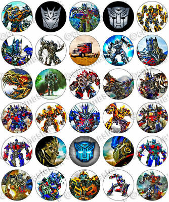 30 X TRANSFORMERS Party Edible Wafer Paper Cupcake Toppers *PRECUT* • 2.49£