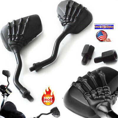 $16.85 • Buy Black Skull Hand Claw Electric Motorcycle Moto Trike Rear View Mirrors 8mm 10mm