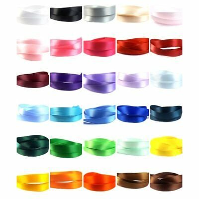 Satin Ribbon 13mm (1/2  Inch) - 35 Plain Coloured Double Sided / Faced Ribbon • 8.99£