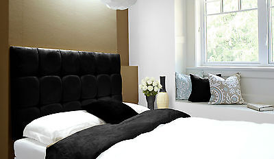 Java Buttoned Diamante Wall Headboard Faux Suede Black All Sizes & 6 Heights • 60.70£