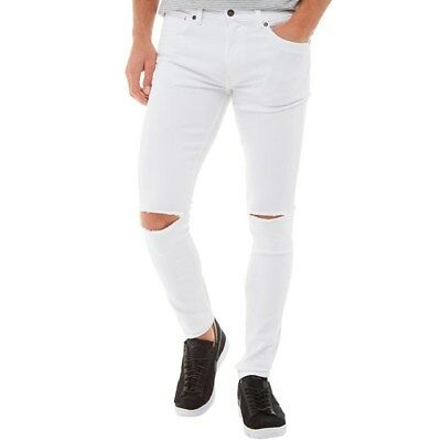 Ringspun Mens Apollo Super Skinny Fit Jeans, White, W34 L32, BNWT • 24.99£