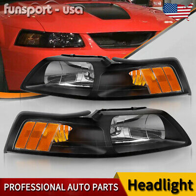 $65.48 • Buy For 1999-2004 Ford Mustang Pair Black Housing Amber Corner Headlight