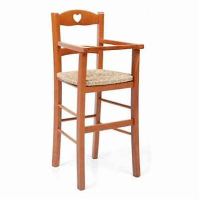 High Chair Highchair Chair Babysitting Wooden Cherry Tree And Sitting IN Straw • 41.60£