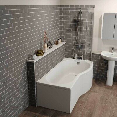£339.99 • Buy Bathroom Suite P Shaped Right Hand Shower Bath Glass Screen Front Bath Panel