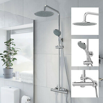 Bathroom Shower Mixer Thermostatic Set Twin Head Chrome Exposed Valve Round Set • 64.99£