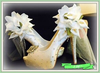 Custom Crystal Wedding Shoes Formal Shoes  SATIN  I DO   ALL SIZES • 142.34£