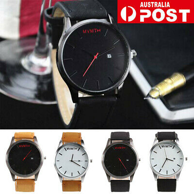 AU5.59 • Buy Men's Leather  Casual Analog Quartz Wrist Watch Business Watches Gifts AU