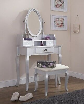 Vintage Style Silver Dressing Table Padded Stool Oval Mirror Drawers 3pc Set • 139.99£