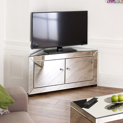 Venetian Mirrored Glass Corner TV Unit -2 Door Media Storage Cabinet Stand TFM12 • 299£