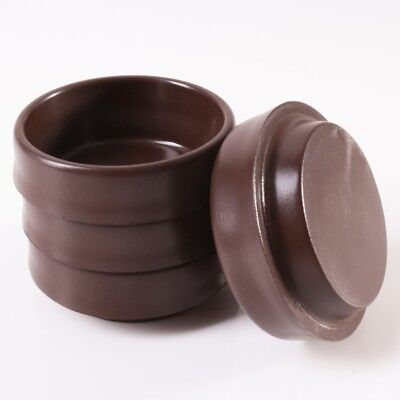 4x SMALL BROWN FURNITURE CASTOR CUPS | Anti Marks Glides Floor Protectors • 2.19£