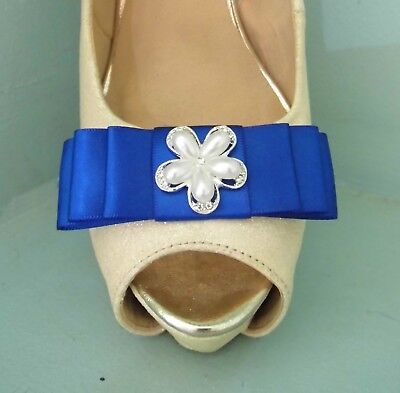 2 Royal Blue Satin Bow Clips For Shoes With Diamante And Pearl Flower Centre • 11.99£