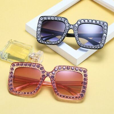 7d7013a01cbb NEW Oversized Square Frame Bling Rhinestone Sunglasses Women Fashion Shades  2019 • 17.95