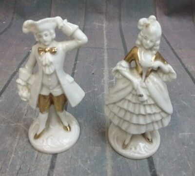 $ CDN58.30 • Buy 2 Vintage White With Gold Trim Colonial Victorian Porcelain Figurines - Germany