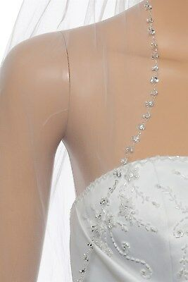 £24.10 • Buy 1T 1 Layer White / Ivory Crystal Pearl Beaded Elbow 30  Bridal Wedding Veil