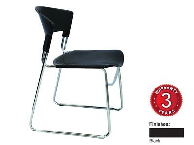 AU108.99 • Buy ZOLA Chair Stacking – Chrome Sled Base Poly Seat & Backrest Black Only