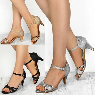 Womens Ladies Low Heel Wedding Bridal Silver Sandals Party Strappy Shoes Open • 17.99£