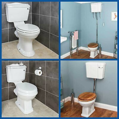£149.99 • Buy Traditional Close Coupled Toilet Low High Level Pan Cistern Ceramic Oak White WC