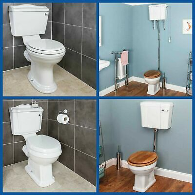 Traditional Close Coupled Toilet Low High Level Pan Cistern Ceramic Oak White WC • 169.99£