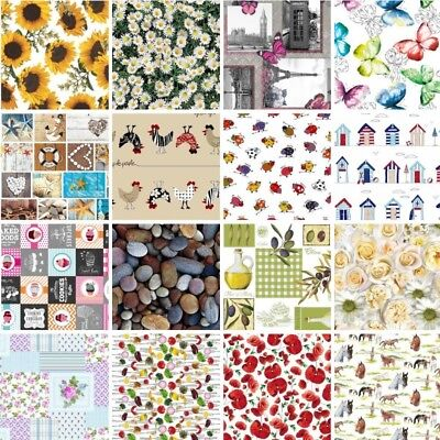 Tablecloth Vinyl PVC Easy Wipe Clean Food, Animals, Floral, Sunflowers, Poppies • 6.50£