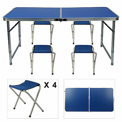 Aluminium Folding Portable Camping Picnic Party Dining Table With 4 Chairs • 23.99£
