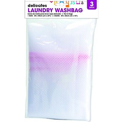 3 X Zipped Laundry Mesh Bags Delicate Washing Easy Lingerie Bra Clothes Wash • 2.39£