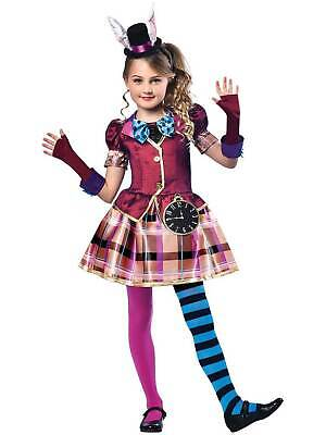 £19.99 • Buy Girls Miss Mad Hatter Costume Child Alice Fancy Dress Kids Book Week Day Outfit