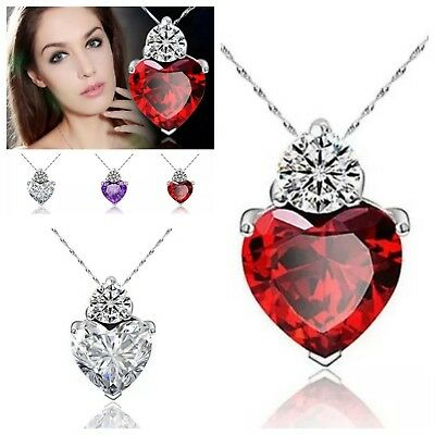 £2.99 • Buy Red Heart Clear Crystal Love Silver Plated Pendant Necklace Anniversary Wedding