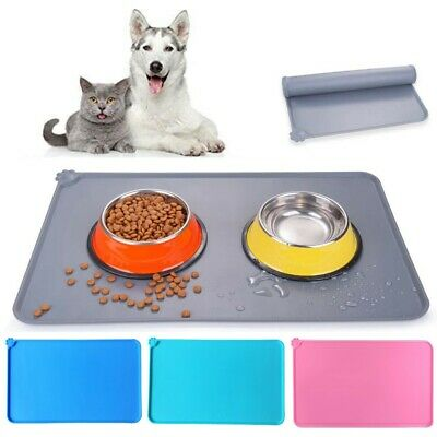 Silicone Puppy Dog Placemat Pet Cat Dish Bowl Feeding Food Water Mat Clean UK • 5.49£