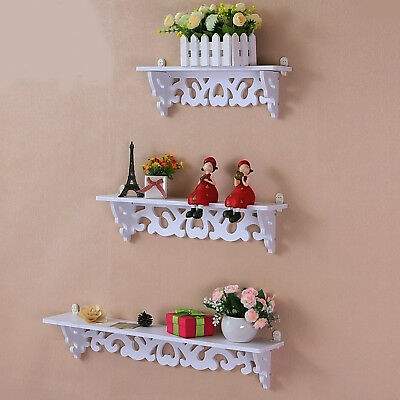 Set Of 3 Wooden Floating Wall Shelves Storage Display Kitchen Bedroom Shelf Unit • 8.69£