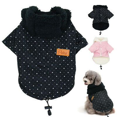 £7.41 • Buy Dog Clothes Winter Warm Fleece Padded Coat Jacket Hoodie For Pet Puppy Chihuahua