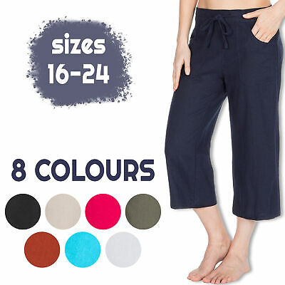 Metzuyan Womens Cropped Linen Capri Pants 3/4 Summer Shorts Plus Size 16-24 UK • 11.99£