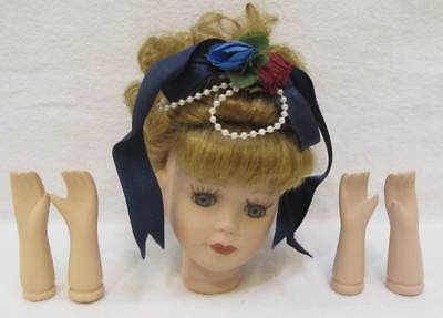 $ CDN24.41 • Buy Porcelain Doll Parts Head W/ Blue Glass Eyes Wig 2 Sets Of Arms Crafts Lot Of 6