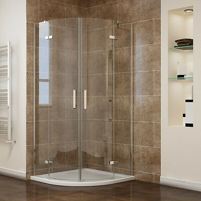 Frameless Quadrant Shower Enclosure Corner Cubicle Pivot Hinged Screen W/ Tray  • 135.99£