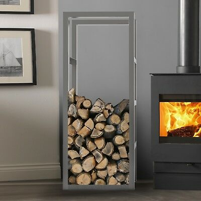 Stainless Steel Log Store Firewood Metal Stand Fire Wood Rack Storage Unit • 126.99£