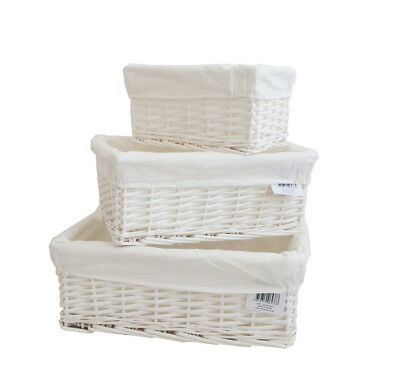 Wicker Storage Basket/Hamper With Lining In Small/Medium/Large Ideal Gift • 6.49£