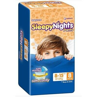 AU26.50 • Buy 1 X Baby Love Sleepy Night Pants 8-15 Yrs (24-57 Kgs) - 8 Pack
