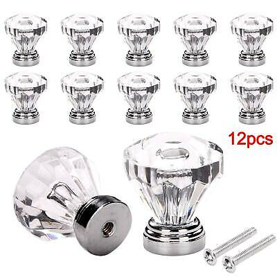 12Pcs Clear Crystal Diamond Glass Door Knobs Cupboard Drawer Handle Cabinet Knob • 7.95£