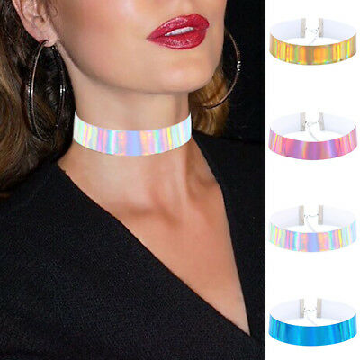 New Women Holographic Vintage PU Choker Collar Chain Lace Necklace Punk Gothic • 2.95£