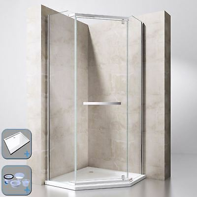 Durovin Shower Enclosure Cubicle And Tray Pivot Hinged Pentagon Glass Unit • 240£