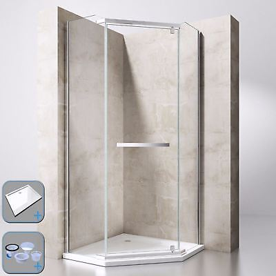 £320 • Buy Durovin Shower Enclosure Cubicle And Tray Pivot Hinged Pentagon Glass Unit