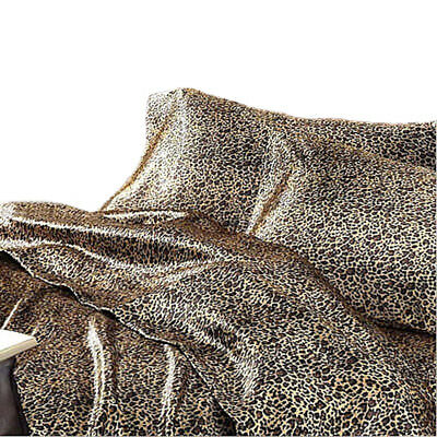 AU84.90 • Buy Satin Sheet Set QUEEN Size Leopard Animal Print Luxury Silk Feel Safari Bedding