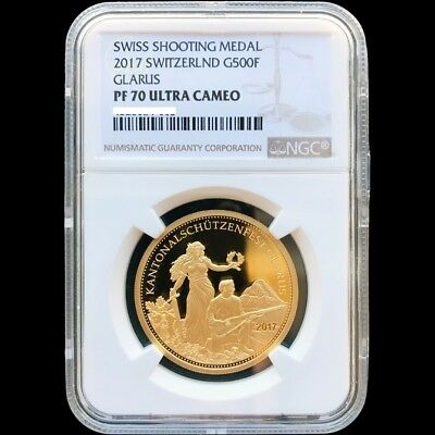 $2399 • Buy Swiss Shooting Medal 2017 Switzerland G500F Glarus Gold Proof Coin NGC PF 70 UC