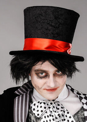 £24.99 • Buy Mens Halloween Gothic Black Mad Hatter Fancy Dress Fairytale Top Hat & Red Band