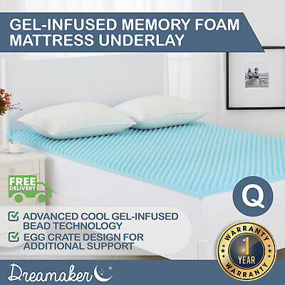 AU89.95 • Buy QUEEN COOL GEL Memory Foam Mattress Topper Bedding NEW COLD Egg Crate 5 CM Size