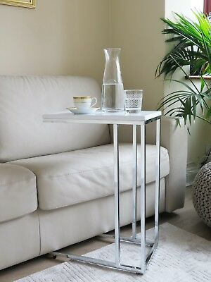 £44.99 • Buy Bellini Wooden Top Sofa/Side/End/Laptop Table-White Glossy Top-ST38W