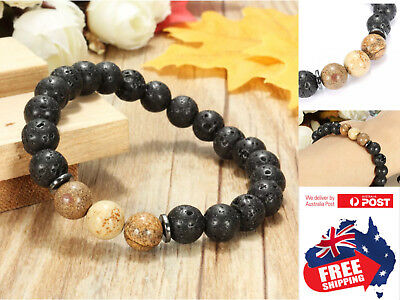 AU6.95 • Buy Chakra Bracelet Healing Lava Stone Natural Oil Diffuser Aromatherapy 3 Brown 1pc