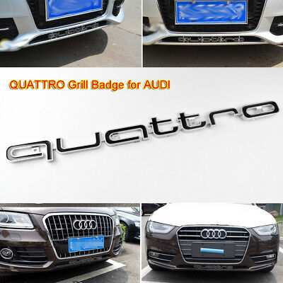 QUATTRO Black Grill Badge Emblem For Audi RS A1 A3 A4 A5 A6 S3 S4 S5 RS3 RS5 RS6 • 11.39£