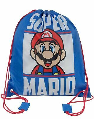 Super Mario Kids Back To School Kid's Drawstring PE Swim Bag In Blue • 9.99£