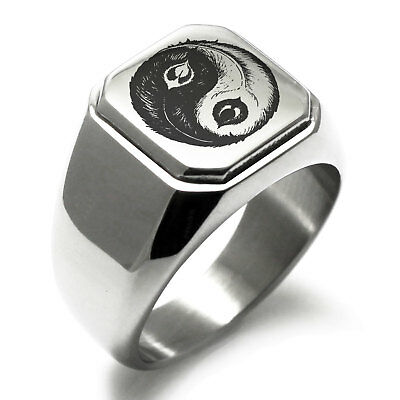 Stainless Steel Peacock Feather Yin Yang Mens Square Biker Style Signet Ring • 11.23£